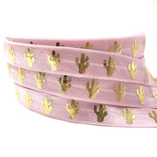 10 yards wholesale Pink Cactus Gold Metallic print Fold over elastic Hairbands foe ribbon DIY Accessories handmade tube(China)