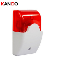 103 Wired Indoor Siren Wired Mini Siren with Red Flash Light for House Alarm System Strobe Light and Siren(China)