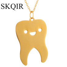 SKQIR Lovely Tooth Necklaces & Pendants For Women/Men Gold-Color Chain Stainless Steel Necklace Fashion Body Medical Jewelry(China)