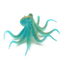 Fluorescent Artificial Octopus Aquarium Ornament + Suction Cup Fish Tank Decoration(China)
