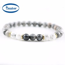 New Design 6mm Grey Stone Jewelry Natural Howlite Labradorite Beads Stretch Energy Yoga Gift Strand Bracelets