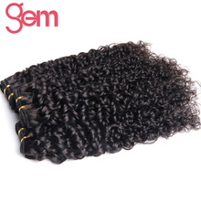 Malaysia Curly Hair Extensions GEM BEAUTY Hair 100% Human Hair Weave Bundles Non-remy Hair Natural Black 1b 100g Can buy 3/4 pcs