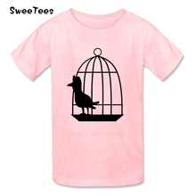 Bird Cage Children T Shirt Cotton Short Sleeve Crew Neck Tshirt Tops Boys Girls 2017 Custom Made T-shirt For Kids