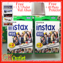 40 Sheets Fujifilm Instax Wide Film VALID UNTIL 2019-3 + Free Wall Album Photo Protector For Polaroid Instax Camera 300 200 210