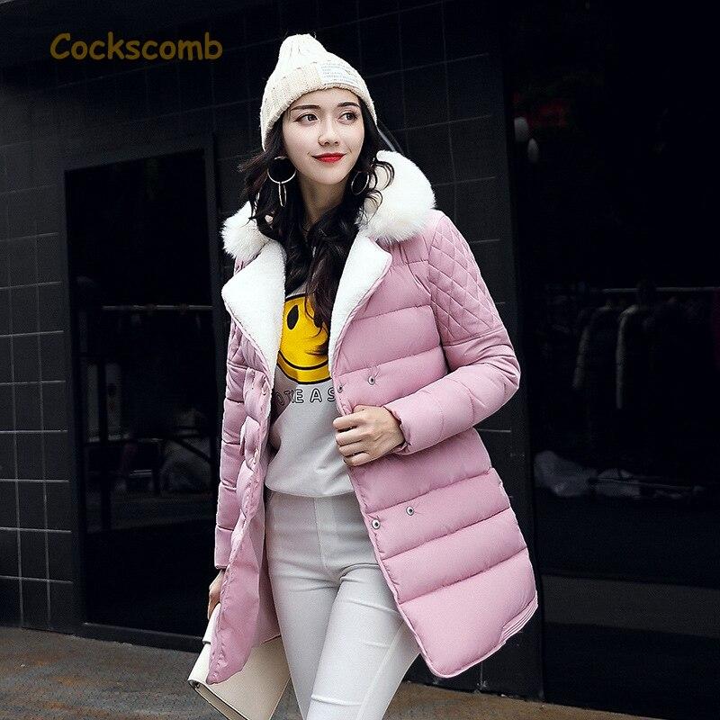 Cockscomb Brand Fake Fur Turn Down Collar Winter Parkas Women Cotton Wadded Warm Thickening Coat Outerwear 2017 New CollectionÎäåæäà è àêñåññóàðû<br><br>