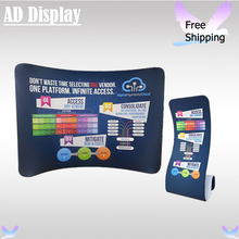 10ft*7.5ft Tradeshow Portable Display Curve Stretch Tension Fabric Backdrop With Snake Banner Stand(Include One Side Printing)