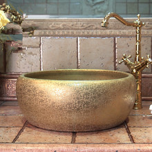 Jingdezhen ceramic sanitary ware art counter basin wash basin lavabo sink Bathroom sink chinese round art wash basin(China)