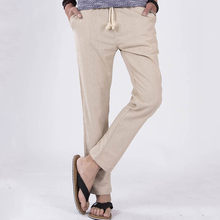 Linen Pants Men Anti-Microbial Healthy Slim Flax Comfortable Male Trousers Jogger Pants Hemp Casual Straight Pants Plus Size 5XL