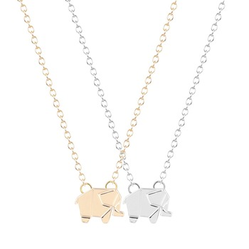 Tiny Cute Elephant Necklace Charm Pendant Necklace Geometric Animal Necklaces Elephants Animal Jewelry for Women Girls
