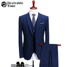 (Jacket+Vest+Pants)Men Slim Fit Suits Plus Size M- 6XL Mens White Wedding Suits With Pants Business Mens Formal Wear XK45