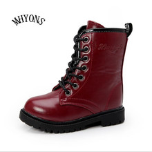 MHYONS Factory Direct 2017Autumn Korean Girls Boots Solid Color Kids Winter Snow Boots Boys Martin Boots Botte Fille Plus Size
