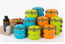 Thermal Insulated 1 LayerFood Stainless Steel Hot New Container Handle Lunch Box Free Shipping 3 Colors Wholesale
