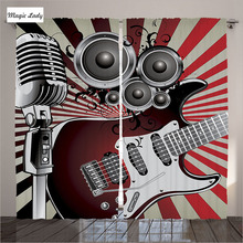 Curtains Musical Home Decor Old Fashioned Speaker Loudspeaker Red White Beige Black Living Room Bedroom 2 Panels Set 145*265 sm