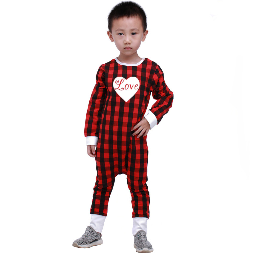 2017 New Arrive Baby Valentines Day Rompers Girls Cotton Love Heart Jumpsuit Boys Girls Red Plaid Pajamas 30F<br><br>Aliexpress