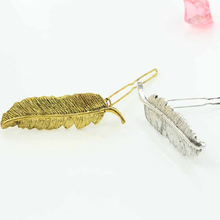 New Metal Golden/SilverColor Temperament of Feather Hair Clip Hairpin Tide Restoring Ancient Ways Female Bang Clip BW576(China)