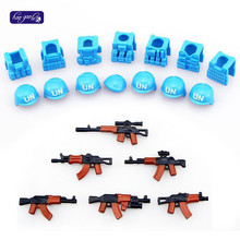 HAOGAOLE guns+ helmet Beret UN Bulletproof Vest AK Weapons Pack Military Army Bricks Police Blocks Toys Compaitble with legao