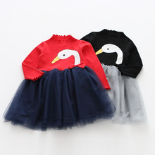 Children Girls Cartoon Dresses Baby Full Sleeve Animal Swan Clothing Wholesale Boutique Kids Mesh Character Clothes 5pcs/LOT