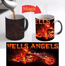 motorcycle Lover on Fire mugs coffee cups heating cup tea mugs heat transfer temperature color change cup mugen Magic travel mug