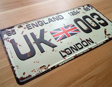 "About All kind of country signs"" UK-003 "" Retro Vintage Metal tin signs car License Plates number Wall art craft painting"