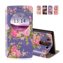 "View Window PU Leather Case For LG G3 Beat G3S G3 mini D722 D725 D728 D724 5.0"" Flower Printed Stand Cover Mobile Phone  Case"