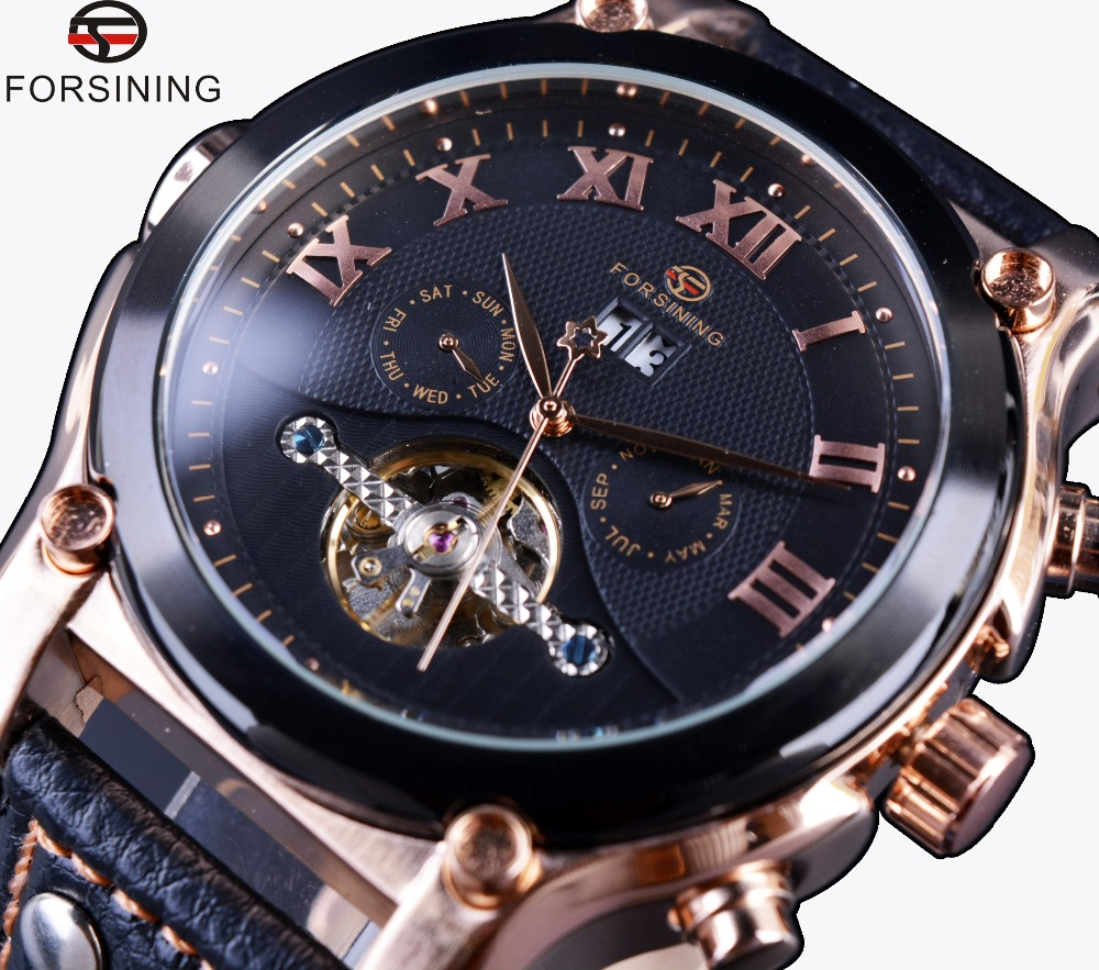 Forsining Rose Gold Case Tourbillon Classic Design Genuine Leather Strap Watches Mens Watches Top Brand Luxury Automatic Watch<br>