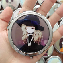 RANDOM girl mini pocket makeup mirror cosmetic compact mirrors portable double Dual sides stainless steel frame cosmetic makeup