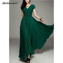 Buy Summer Sexy Dress Women Chiffon Beach Long Dresses Green Short Sleeve Sexy Deep V neck Boho Maxi Dress Sundress Party Vestidos for $20.36 in AliExpress store