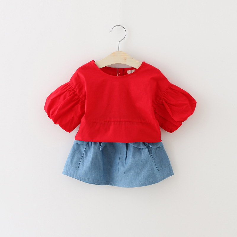 Summer Girls Clothing Sets solid denim Skirt+Shirt puff sleeve Baby Girl Dress Set for 0-3Y Kids Toddler Girl Summer Clothes Set<br><br>Aliexpress