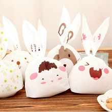 50pcs lot Rabbit Ear Cookie Bag Plastic Packaging Biscuit Candy Gift Bags Cute Cartoon Wedding Party Decoration XHH8053(China)