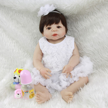 Can Sit And Lie Princess Girl Baby Doll 23 Inch Lifelike Full Silicone Vinyl Reborn Babies Toy With White Dress Kids Playmate