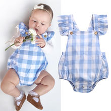 Infant Newborn Girls Children Butterfly sleeves Plaid Sliders Backless Overalls Clothes Beach Suit Outfits