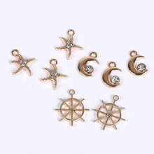 10PCS Trendy Starfish Moon RudderRhinestone Pendant Gold-colour Charms For DIY hand made fit Necklace bracelte diy craft(China)
