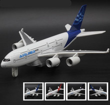 High simulation Boeing A380 airliner model, 1: 350 alloy pull back aircraft model,musical & flashing toy plane,free shipping(China)