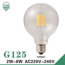 G125 Edison Bulb Big light bulb 2W 4W 6W 8W filament led bulb E27 clear glass indoor lighting lamp AC220V vintage retro lamp