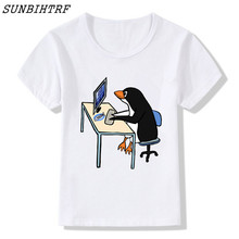 Cartoon Children Print The LINUX Penguin In A Computer T Shirt O-Neck Short Sleeve Summer Kids Girls Boys Funny Tee T-shirt(China)