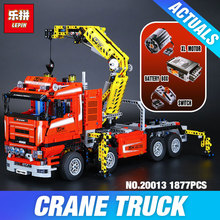 Lepin 20013 New 1877pcs Technic Ultimate Mechanical Series The Electric Crane Truck Set Building Blocks Bricks Toys assemble8258