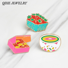 QIHE JEWELRY Brooches & pins Cookies strawberry rainbow bowl food pins Hard enamel lapel pins Cartoons brooches