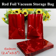 "100pcs 6x9cm (2.4""x3.5"") 180micron Small Glossy Red Aluminum Foil Open Top Bag Heat Sealing Vacuum Zipper Red Packaging Pouch"