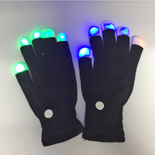 2 pair/lots led gloves luminous flower finger light gloves party supply dancing club props light up toys glow unique gloves