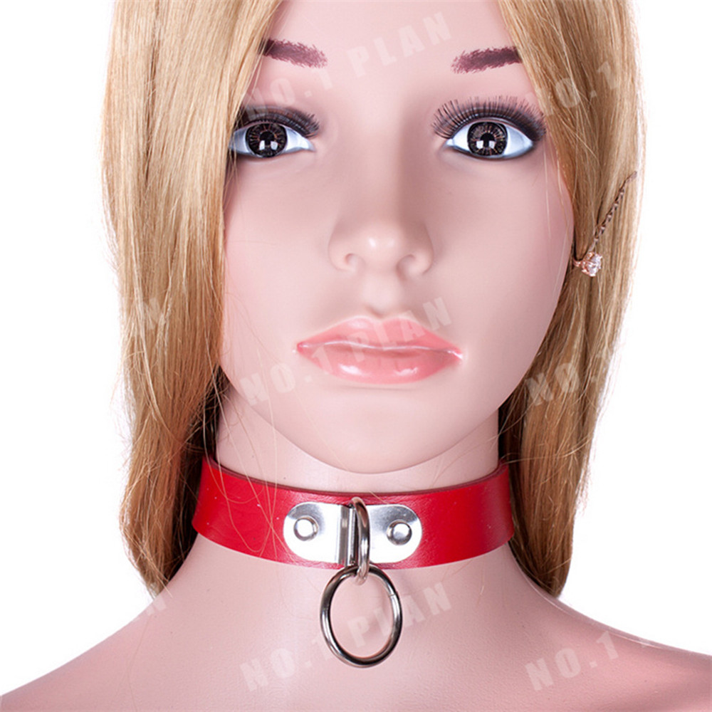 Soft Leather Dog Collar Chain Bondage Slave Adult Games Couples , Sex Product Toys Women Men - AS37