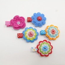 20pcs/lot Felt Flower Hair Clips Sweet Non-slip Girl Hairpin Kid Knitted Floral Antiskid Hair Grips Polka Dot Princess Barrettes(China)