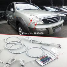 4pcs Super bright 7 color RGB LED Angel Eyes Kit with a remote control car styling for Ssangyong Rexton 2003 2004 2005