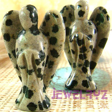 New !! Fashion Natural Black Spot Stone bead Angel Charms Statue Carved Angel Figurine Beads With Wing Pendant Stone Pendants(China)