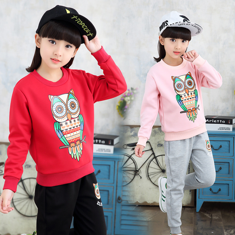Spring Children Girls Clothing Set Print Owl Toddler Baby Girl Clothes Sports Suit 4-12 Years Kids Tracksuit Sweatshirts + Pants<br><br>Aliexpress