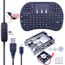 i8 2.4G Wireless Mini Keyboard +Sliced 9 Layers Case Box + Cooling Fan + Micro USB Cable with Turn/on Switch+Heat sinks