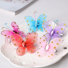 New Children Hair Accessories Cute Hairpin Beautiful Glitter Butterfly Hair Decoration Side-Knotted Clip Chiffon Baby Hair Clip