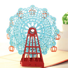 2016 fashion geft New Arrival Papercraft Pop-Up 3D Ferris Wheel Valentine Cards May Love Goes Round And Round