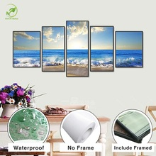 Modern 5pcs Modular Prints Poster Board Framed Canvas Oil Painting Blue Seaview Sky Pictures Landscape Wall Art For Living Room