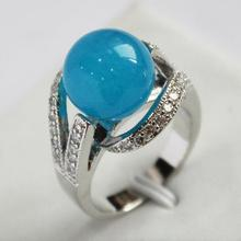 lady's new design jewelry silver plated with crystal decorated &12mm blue jades ring(#7.8.9)