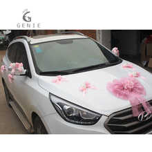 Genie Artificial Flowers Car Decoration Sets Wedding Pompoms Silk Flower Foam Pearl Garland DIY Wreath Wedding Accessories Cheap
